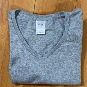 Gildan Gray V Neck T shirt